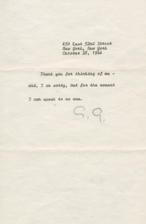 Greta Garbo signed letter to Sydney Guilaroff