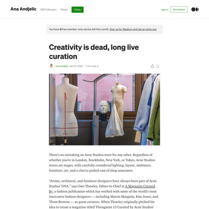 Creativity is dead, long live curation
