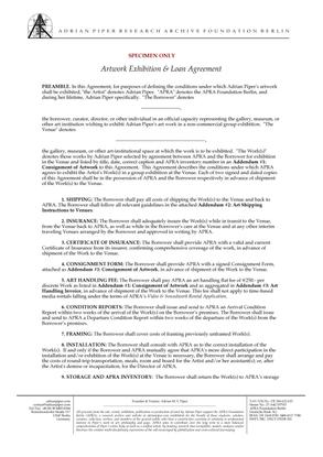 adrian piper artist contract