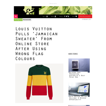 Louis Vuitton Pulls 'Jamaican Sweater' From Online Store After Using Wrong Flag Colours - B&T