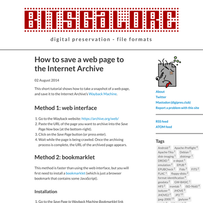 How to save a web page to the Internet Archive