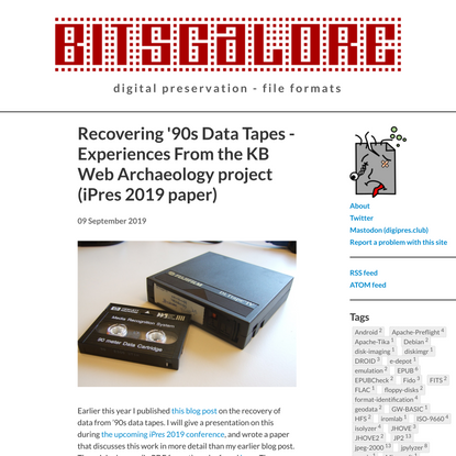 Recovering '90s Data Tapes - Experiences From the KB Web Archaeology project (iPres 2019 paper)