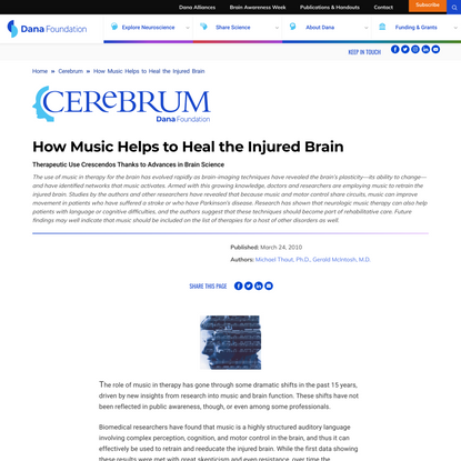 How Music Helps to Heal the Injured Brain | Dana Foundation