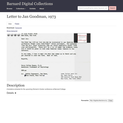 Letter to Jan Goodman, 1973 | Barnard Digital Collections