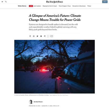 A Glimpse of America's Future: Climate Change Means Trouble for Power Grids