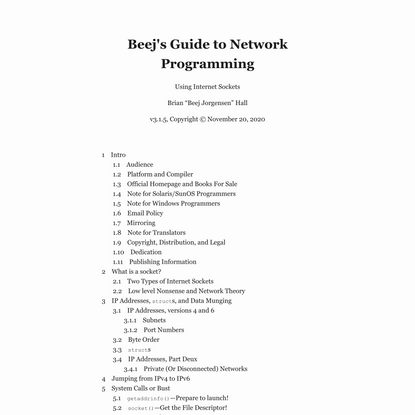 Beej's Guide to Network Programming