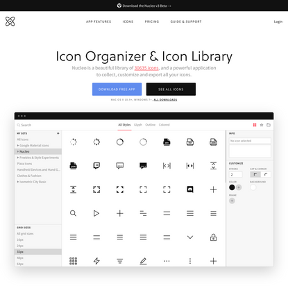Icon organizer and icon library | Nucleo