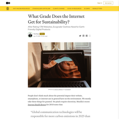 What Grade Does the Internet Get for Sustainability?