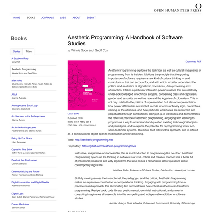 Open Humanities Press– Aesthetic Programming