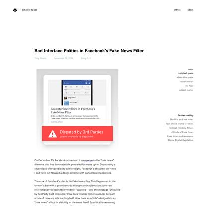 Bad Interface Politics in Facebook's Fake News Filter