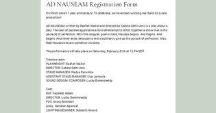 AD NAUSEAM Registration Form