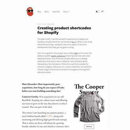 Creating product shortcodes for Shopify — Pat Dryburgh