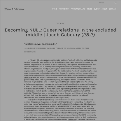 Becoming NULL: Queer relations in the excluded middle | Jacob Gaboury (28.2) — Women & Performance