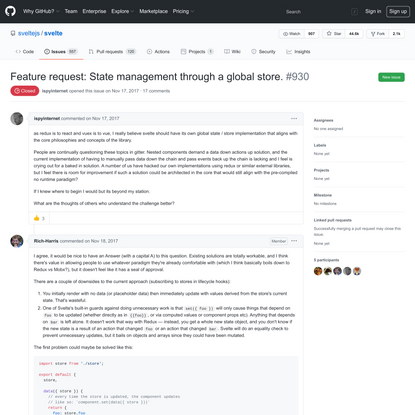 Feature request: State management through a global store. · Issue #930 · sveltejs/svelte