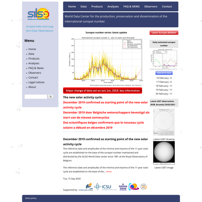 SILSO | World Data Center for the production, preservation and dissemination of the international sunspot number