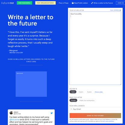 FutureMe: Write a Letter to your Future Self
