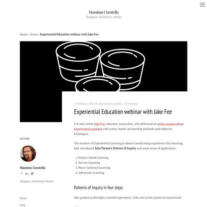 Experiential Education webinar with Jake Fee | Massimo Curatella