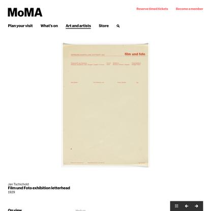 Jan Tschichold. Film und Foto exhibition letterhead. 1929   MoMA