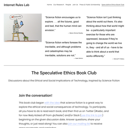Speculative Ethics Book Club — Internet Rules Lab