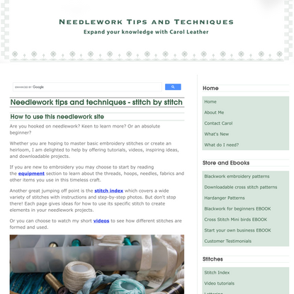 Needlework and embroidery tips and techniques from Carol Leather