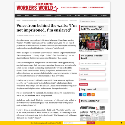 Voice from behind the walls: 'I'm not imprisoned, I'm enslaved'