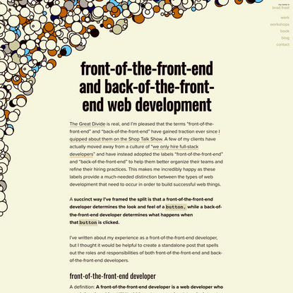 Front-of-the-front-end and back-of-the-front-end web development