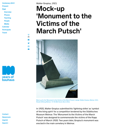 Mock-up 'Monument to the Victims of the March Putsch' : Bauhaus100