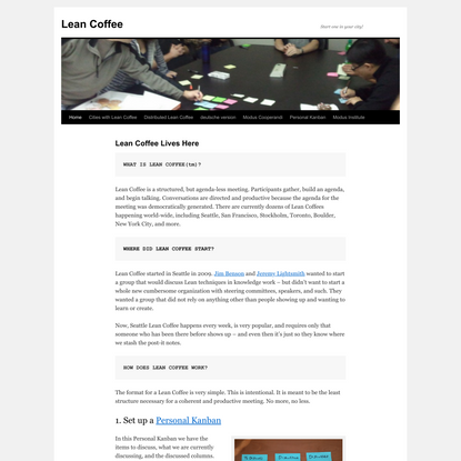 Lean Coffee   Start one in your city!