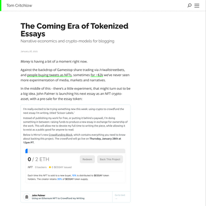 The Coming Era of Tokenized Essays