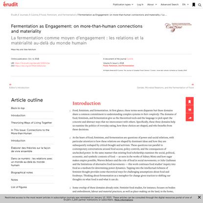Fermentation as Engagement: on more-than-human connections and materiality / La fermentation comme moyen d'engagement: les ...