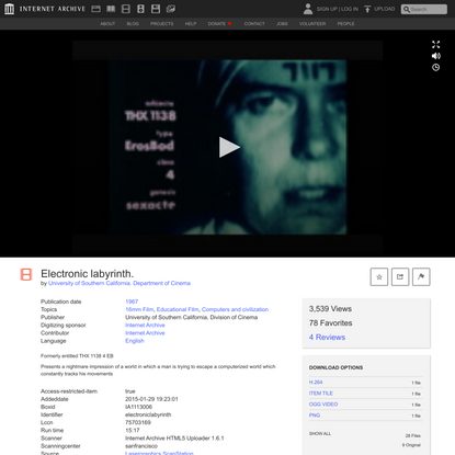 Electronic labyrinth. : University of Southern California. Department of Cinema : Free Download, Borrow, and Streaming : Int...