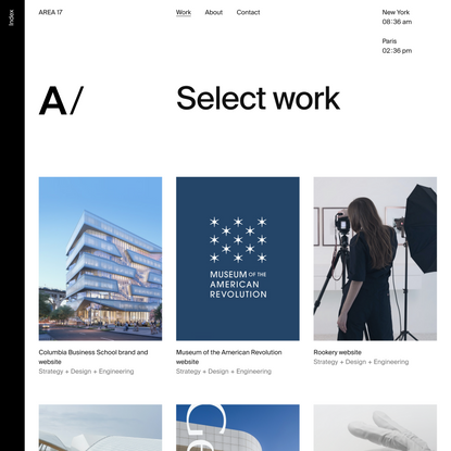 Select work — AREA 17