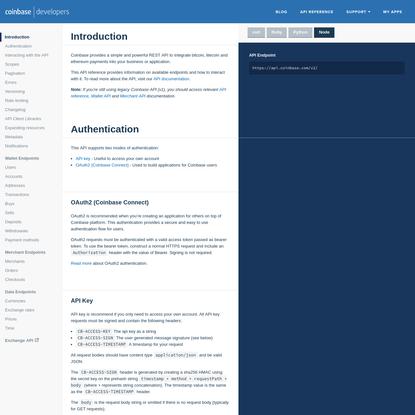Coinbase Digital Currency API