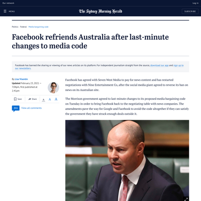 Facebook refriends Australia after last-minute changes to media code
