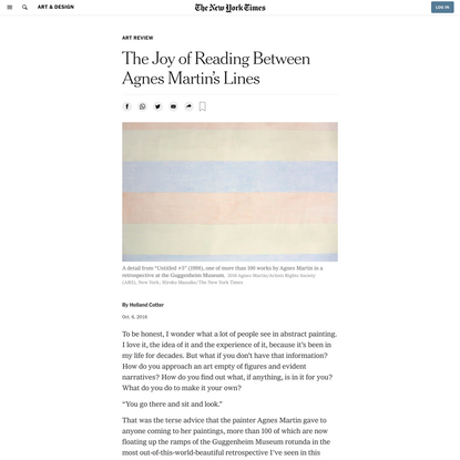 The Joy of Reading Between Agnes Martin's Lines (Published 2016)