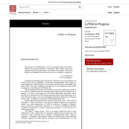 LeWitt in Progress on JSTOR