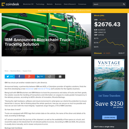 IBM Announces Blockchain Truck-Tracking Solution with Colombian Partner - CoinDesk
