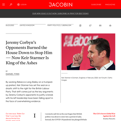 Jeremy Corbyn's Opponents Burned the House Down to Stop Him — Now Keir Starmer Is King of the Ashes