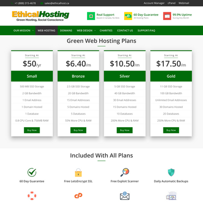 Ethical Web Hosting Plan Comparison - Green Web Hosting Toronto