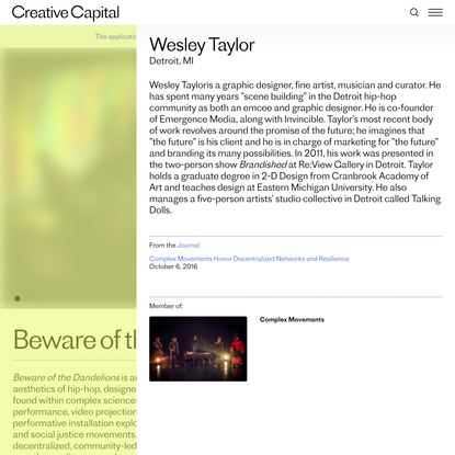 Wesley Taylor | Creative Capital