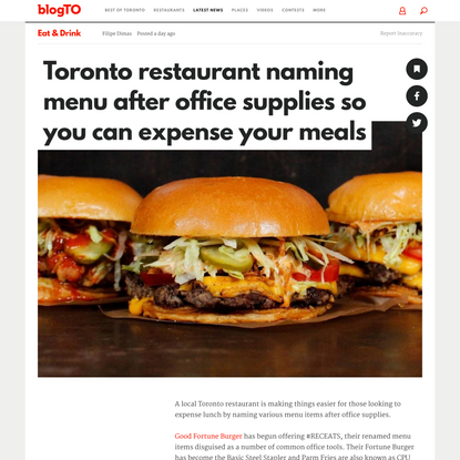Toronto restaurant naming menu after office supplies so you can expense your meals