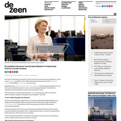 """New European Bauhaus"" to help Europe move to a circular economy"