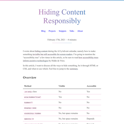 Hiding Content Responsibly