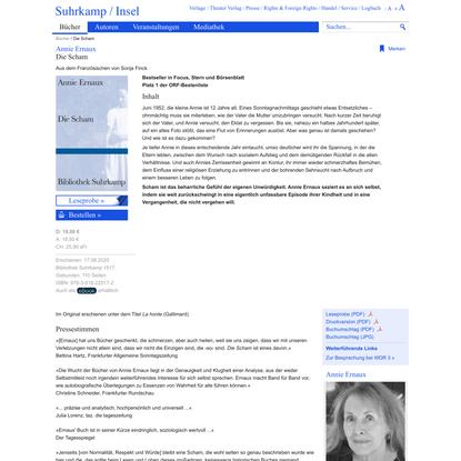 Die Scham von Annie Ernaux - Suhrkamp Insel Bücher Buchdetail
