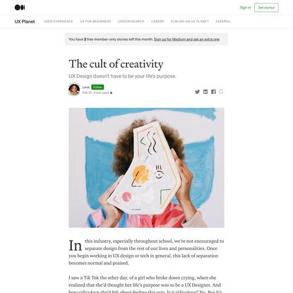The cult of creativity