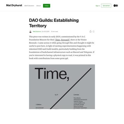 DAO Guilds: Establishing Territory