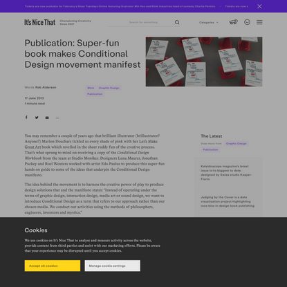 Publication: Super-fun book makes Conditional Design movement manifest