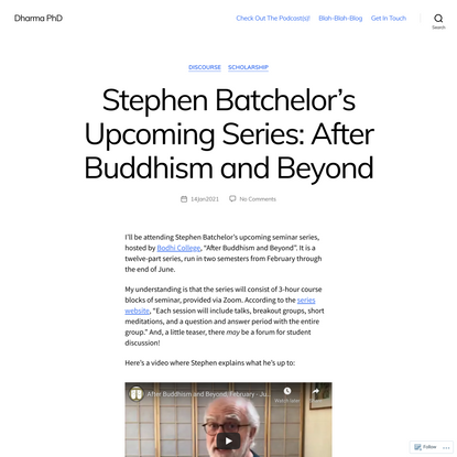 Stephen Batchelor's Upcoming Series: After Buddhism and Beyond