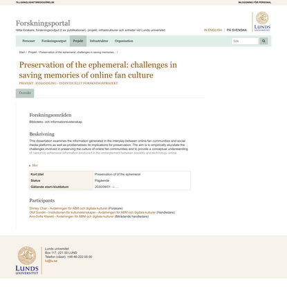 Preservation of the ephemeral: challenges in saving memories of online fan culture - Lunds universitet