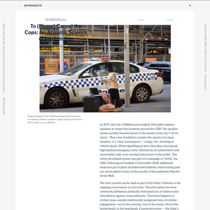 To (Phase) Cancel the Cops: An Acoustic Science of Insurrection - un Magazine 13.1 - un Projects